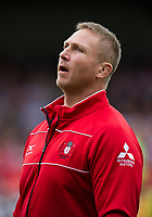 Gloucester Rugby's Head Coach Johan Ackermann during the pre match warm up <br /> <br /> Photographer Ashley Western/CameraSport<br /> <br /> Aviva Premiership - Gloucester v Northampton Saints - Saturday 7th October 2017 - Kingsholm Stadium - Gloucester<br /> <br /> World Copyright &copy; 2017 CameraSport. All rights reserved. 43 Linden Ave. Countesthorpe. Leicester. England. LE8 5PG - Tel: +44 (0) 116 277 4147 - admin@camerasport.com - www.camerasport.com