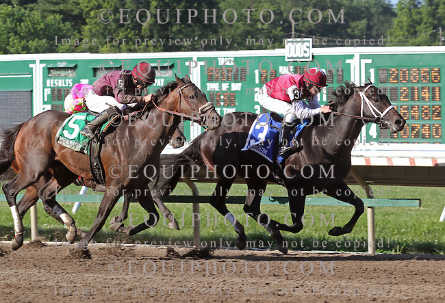 Le Bernardin #3 with Mike Luzzi riding holds off the challenge of #5 Easter Gift and Sheldon Russell to win the $100,000 Pegasus Stakes at Monmouth Park in Oceanport, New Jersey on Sunday June 17, 2012.  Photo By Ryan Denver/EQUI-PHOTO