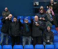 Oldham Athletic Fans before the Sky Bet League 1 match between Oldham Athletic and Rochdale at Boundary Park, Oldham, England on 18 November 2017. Photo by Juel Miah/PRiME Media Images