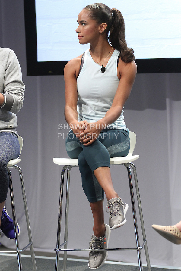 "Ballerina Misty Copeland, onstage at the Under Armour, ""I will what I want"" global women's campaign launch, on July 31, 2014, in New York City."