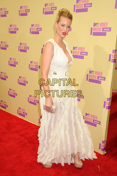 Christine Scott Bennett.Arrivals at the The 2012 MTV Video Music Awards held at Staples Center in Los Angeles, California, USA..September 6th, 2012.VMA's VMAS VMA full length dress white sleeveless ruffle low cut neckline cleavage side .CAP/ADM/BP.©Byron Purvis/AdMedia/Capital Pictures.