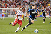 Dane Richards (19) of the New York Red Bulls is marked by Bobby Convey (11) of the San Jose Earthquakes. The New York Red Bulls defeated the San Jose Earthquakes 2-0 during a Major League Soccer (MLS) match at Red Bull Arena in Harrison, NJ, on August 28, 2010.