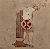 Detail of mural, Iglesia Vera Cruz (Church of the True Cross), 13th century, Road to Zamarramala, Segovia, Castile and Leon, Spain. Constructed by the Knights Templar  to house a fragment of the True Cross, consecrated, 1208. Romanesque 12-sided polygonal building broken to the east by the triple apse and to the south by the tower. Picture by Manuel Cohen