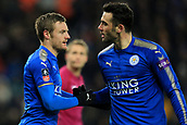 18th March 2018, King Power Stadium, Leicester, England; FA Cup football, quarter final, Leicester City versus Chelsea; Jamie Vardy of Leicester City celebrates his goal with Vicente Iborra making it 1-1