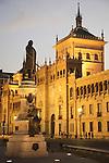 Cavalry Academy with statue to Zorrilla in Plaza Zorrilla Square, Valladolid, Castile and Leon, Spain