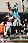 Carolina Panthers wide reciever Steve Smith jumps to make a touchdown catch during a game against the Arizona Cardinals at Sun Devil Stadium in Tempe, AZ on October 9, 2005.  The Panthers won 24-20.