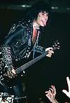 Gene Simmons of Kiss performing live in Poughkeepsie , NY - Nov 1984