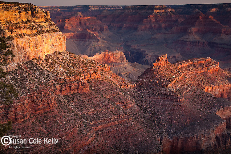 Sunrise on the Battleship formation in Grand Canyon National Park, AZ, USA