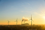 Nederland, Noord-Holland, Amsterdam, 11-12-2013; rookpluimen uit de schoorstenen van Afval Energie Bedrijf Amsterdam in de winter en bij zonsondergang. <br /> Waste and Energy Company Amsterdam at sunset.<br /> luchtfoto (toeslag op standaard tarieven);<br /> aerial photo (additional fee required);<br /> copyright foto/photo Siebe Swart.