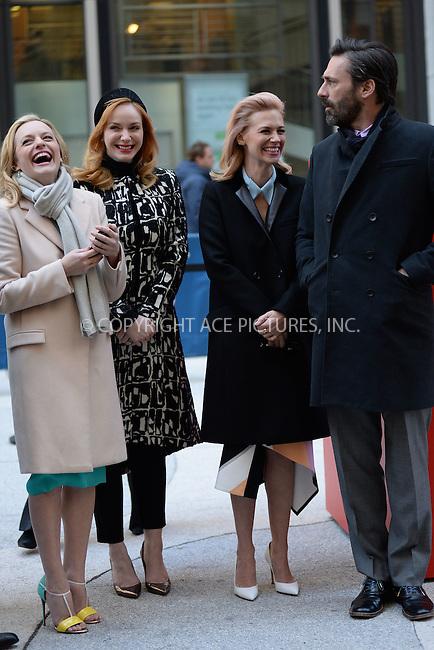WWW.ACEPIXS.COM<br /> March 23, 2015 New York City<br /> <br /> Elisabeth Moss,Christina Hendricks, January Jones and Jon Hamm attending the 'Mad Men' art installation Unveiling at Time &amp; Life Building on March 23, 2015 in New York City. <br /> <br /> Please byline: Kristin Callahan/AcePictures<br /> <br /> ACEPIXS.COM<br /> <br /> Tel: (646) 769 0430<br /> e-mail: info@acepixs.com<br /> web: http://www.acepixs.com