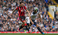 Harry Kane of Tottenham Hotspur (right) and Charlie Daniels of Bournemouth during the Premier League match between Tottenham Hotspur and Bournemouth at White Hart Lane, London, England on 15 April 2017. Photo by Mark  Hawkins / PRiME Media Images.