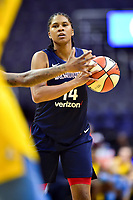 Washington, DC - June 15, 2018: Washington Mystics guard Tierra Ruffin-Pratt (14) handles the basket ball during game between the Washington Mystics and Chicago Sky at the Capital One Arena in Washington, DC. (Photo by Phil Peters/Media Images International)
