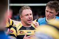Picture by Allan McKenzie/SWpix.com - 22/04/2018 - Rugby League - Ladbrokes Challenge Cup - York City Knight v Catalans Dragons - Bootham Crescent, York, England - York's Tim Spears leads the huddle after the match to thank the players for their hard effort despite losing to the Catalan Dragons.