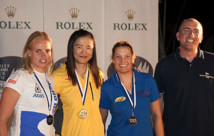 (L to R).2nd: 201862, Fleet: Laser Radial, Marit Bouwmeester, Country: NED.1st: CHN 198566, Fleet: Laser Radial, Lijia Xu, Country: CHN.3rd: BEL202636, Fleet: Laser, Sam Vandormael, Country: BEL
