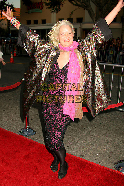 "SALLY KIRKLAND.Paramount Vantage Presents Special Screening of ""Babel"" at Mann's Village Theatre, Westwood, California, USA..November 5th, 2006.Ref: ADM/BP.full length pink scarf metallic silver gold coat arms outstretched.www.capitalpictures.com.sales@capitalpictures.com.©Byron Purvis/AdMedia/Capital Pictures."