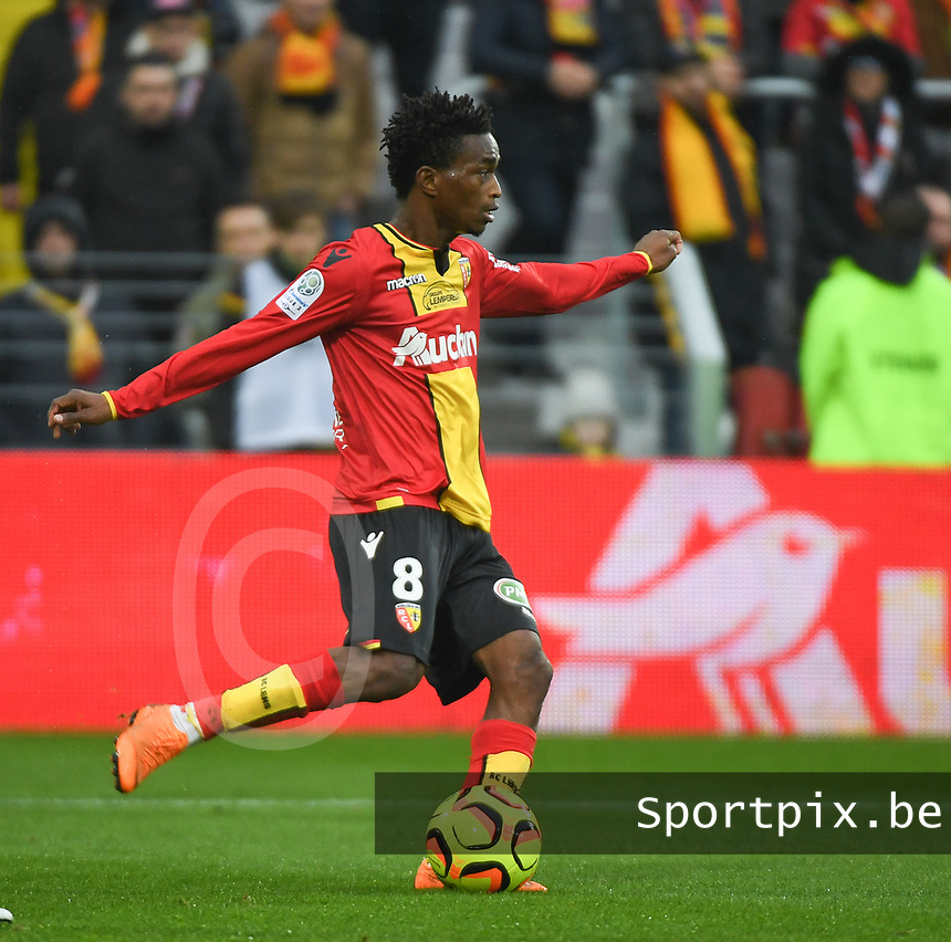 20181124 - LENS , FRANCE : Lens' Souleymane Diarra pictured during the soccer match between Racing Club de LENS and Grenoble Foot 38, on the 15th  matchday in the French Dominos pizza Ligue 2 at the Stade Bollaert Delelis stadium , Lens . Saturday 24 Novembre 2018 . PHOTO DIRK VUYLSTEKE   SPORTPIX.BE
