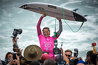 BELLS BEACH, Victoria/AUS (Monday, April 17, 2017) Courtney Conlogue (USA) - The Rip Curl Pro Bells Beach, Stop No. 3 of the World Surf League (WSL) Championship Tour (CT), was been called ON in four-to-six foot (1 - 2 metre) conditions at the world-renowned Bells Beach. Up first will be the remaining five heats of men&rsquo;s Round 3, followed by the women&rsquo;s Quarterfinals, semi's and final. Defending event winner Courtney Conlogue (USA) claimed her second Bell's bell by defeating Stephanie Gilmore (AUS) in the 40 minute final. Gilmore retains the rating lead and while be wearing he yellow leaders jersey when the tour moves to Brazil.<br /> Photo: joliphotos.com