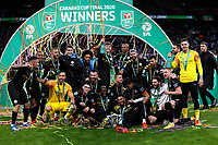 1st March 2020; Wembley Stadium, London, England; Carabao Cup Final, League Cup, Aston Villa versus Manchester City; Manchester City players celebrate with the EFL Cup Trophy