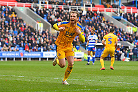Joe Garner of Wigan Athletic scores the second goal and celebrates during Reading vs Wigan Athletic, Sky Bet EFL Championship Football at the Madejski Stadium on 9th March 2019