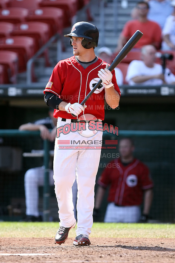 August 22 2008:  Trevor Crowe of the Buffalo Bisons, Class-AAA affiliate of the Cleveland Indians, during a game at Dunn Tire Park in Buffalo, NY.  Photo by:  Mike Janes/Four Seam Images
