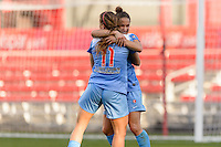 Bridgeview, IL, USA - Sunday, May 29, 2016: Chicago Red Stars forward Sofia Huerta (11) and forward Jennifer Hoy (2) celebrate Huerta's goal during a regular season National Women's Soccer League match between the Chicago Red Stars and Sky Blue FC at Toyota Park. The game ended in a 1-1 tie.