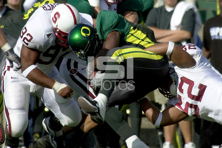 Marcus Hoover makes a tackle in the second quarter during Stanford's 49-42 win over #5 ranked Oregon on October 20, 2001 in Eugene, OR.<br />
