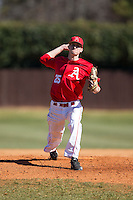 Belmont Abbey Crusaders starting pitcher Matt Davenport (25) in action against the Shippensburg Raiders at Abbey Yard on February 8, 2015 in Belmont, North Carolina.  The Raiders defeated the Crusaders 14-0.  (Brian Westerholt/Four Seam Images)