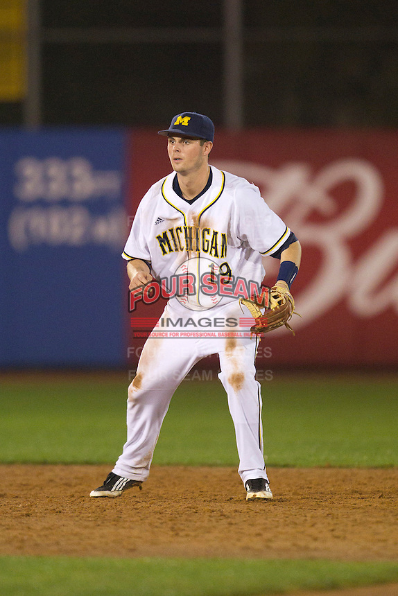 Michigan Wolverines shortstop Derek Dennis #19 during a game against the Pittsburgh Panthers at the Big Ten/Big East Challenge at Florida Auto Exchange Stadium on February 17, 2012 in Dunedin, Florida.  (Mike Janes/Four Seam Images)