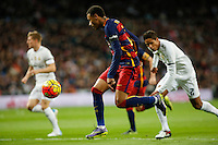 Real Madrid´s Raphael Varane and Barcelona´s Neymar Jr during 2015-16 La Liga match between Real Madrid and Barcelona at Santiago Bernabeu stadium in Madrid, Spain. November 21, 2015. (ALTERPHOTOS/Victor Blanco) /NortePhoto