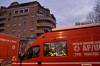 Rome, Italy. 22th January 2016<br /> Fire fighters  at work on the site where an appartment building collapsed . People were evacuated after a resident heard strange noises and raised the alarm before the building collapsed. There is no victims and an investigation is under way.