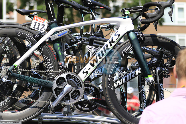 Mark Cavendish's (GBR) Etixx-Quick Step Specialized Venge atop the team car before Stage 2 of the 2015 Tour de France running 179.8km from Utrecht to Zeeland, Netherlands. 5th July 2015.<br /> Photo: Eoin Clarke www.newsfile.ie