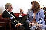 Lobbyist Jim Wadhams and Nevada Assemblywoman Maggie Carlton, D-Las Vegas, talk on Wednesday, April 13, 2011, at the Legislature in Carson City, Nev. .Photo by Cathleen Allison