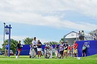 Cristie Kerr (USA), Ai Miyazato (JPN), and Charley Hull (ENG)  prepare to tee off on 1 during Thursday's round 1 of the 2017 KPMG Women's PGA Championship, at Olympia Fields Country Club, Olympia Fields, Illinois. 6/29/2017.<br /> Picture: Golffile | Ken Murray<br /> <br /> <br /> All photo usage must carry mandatory copyright credit (&copy; Golffile | Ken Murray)