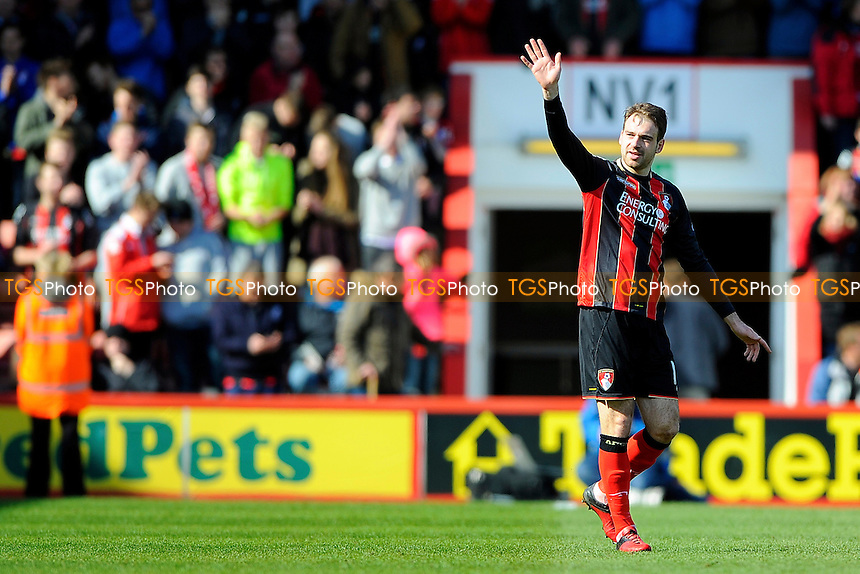 Brett Pitman of AFC Bournemouth salutes the crowd after scoring the third goal - AFC Bournemouth vs Middlesbrough - Sky Bet Championship Football at the Goldsands Stadium, Bournemouth, Dorset - 21/03/15 - MANDATORY CREDIT: Denis Murphy/TGSPHOTO - Self billing applies where appropriate - contact@tgsphoto.co.uk - NO UNPAID USE
