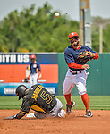 22 March 2015: Houston Astros infielder Jose Altuve turns a double-play in the first inning of a Spring Training game against the Pittsburgh Pirates at Osceola County Stadium in Kissimmee, Florida. The Astros defeated the Pirates 14-2 in Grapefruit League play. Mandatory Credit: Ed Wolfstein Photo *** RAW (NEF) Image File Available ***