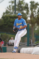 Myrtle Beach Pelicans pitcher Daury Torrez (38) during a game against the Salem Red Sox at Ticketreturn.com Field at Pelicans Ballpark on May 6, 2015 in Myrtle Beach, South Carolina.  Myrtle Beach defeated Salem 4-2. (Robert Gurganus/Four Seam Images)