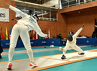 BOGOTA – COLOMBIA – 26 – 05 – 2017: Gabriel Canaux (Izq.) de Estados Unidos, combate con Hernando Roa (Der.) de Colombia, durante Varones Mayores Epee del Gran Prix de Espada Bogota 2017, que se realiza en el Centro de Alto Rendimiento en Altura, del 26 al 28 de mayo del presente año en la ciudad de Bogota.  / Gabriel Canaux (L) from United States, fights with Hernando Roa (R) from Colombia, during Senior Men´s Epee of the Grand Prix of Espada Bogota 2017, that takes place in the Center of High Performance in Height, from the 26 to the 28 of May of the present year in The city of Bogota.  / Photo: VizzorImage / Luis Ramirez / Staff.