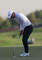 Dylan Frittelli (RSA) on the 18th green during Round 4 of the DP World Tour Championship 2017, at Jumeirah Golf Estates, Dubai, United Arab Emirates. 19/11/2017<br /> Picture: Golffile | Thos Caffrey<br /> <br /> <br /> All photo usage must carry mandatory copyright credit     (© Golffile | Thos Caffrey)