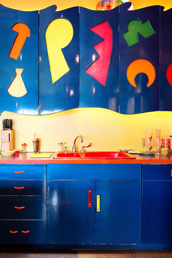 blue kitchen cupboards