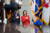 United States House Minority Leader Nancy Pelosi (Democrat of California), stands at attention as the United States National Anthem is played during a ceremony dedicating a chair in the United States Capitol Building to honor United States soldiers labeled as 'Prisoners of War' or 'Missing in Action' at the United States Capitol Building in Washington, D.C. on November 8th, 2017. <br /> Credit: Alex Edelman / CNP