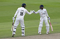 Jordan Clark (L) and Shivnarine Chanderpaul enjoy a 100 partnership for Lancashire during Lancashire CCC vs Essex CCC, Specsavers County Championship Division 1 Cricket at Emirates Old Trafford on 9th June 2018