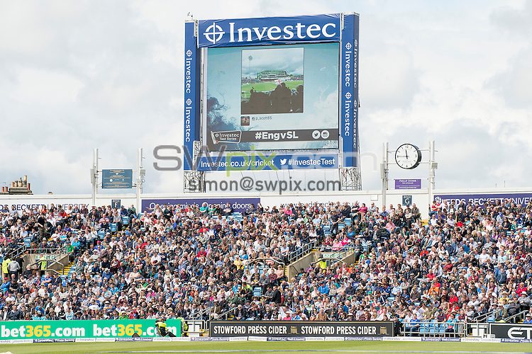 Picture by Allan McKenzie/SWpix.com - 21/05/2016 - Cricket - 2nd Investec Test - England v Sri Lanka - Headingley Cricket Ground, Leeds, England -  The brief, White Rose Stand, Leeds Beckett University, branding.