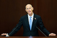 TALLAHASSEE, FLA. 3/5/13-OPENING030513CH-Gov. Rick Scott delivers the State of the State address during the opening day of the 2013 legislative session, Tuesday at the Capitol in Tallahassee, Fla...COLIN HACKLEY PHOTO