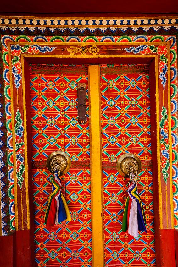 Doors, Stok Monastery, Leh Valley, Ladakh, Jammu and Kashmir State, India.