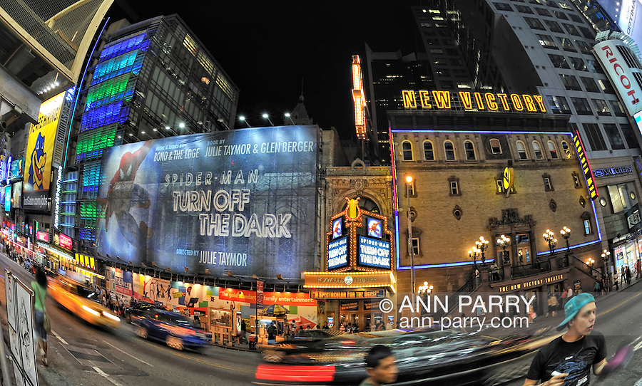 Foxwoods Theatre with Spider-Man Turn Off the Dark,  and New Victory Theater, Manhattan, NYC, NY, USA, on June 27, 2011. NOTE: 180 view taken with fisheye lens (EDITORIAL USE ONLY)