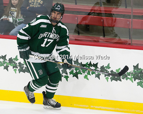 Jesse Beamish (Dartmouth - 17) - The Harvard University Crimson tied the visiting Dartmouth College Big Green 3-3 in both team's first game of the season on Saturday, November 1, 2014, at Bright-Landry Hockey Center in Cambridge, Massachusetts.
