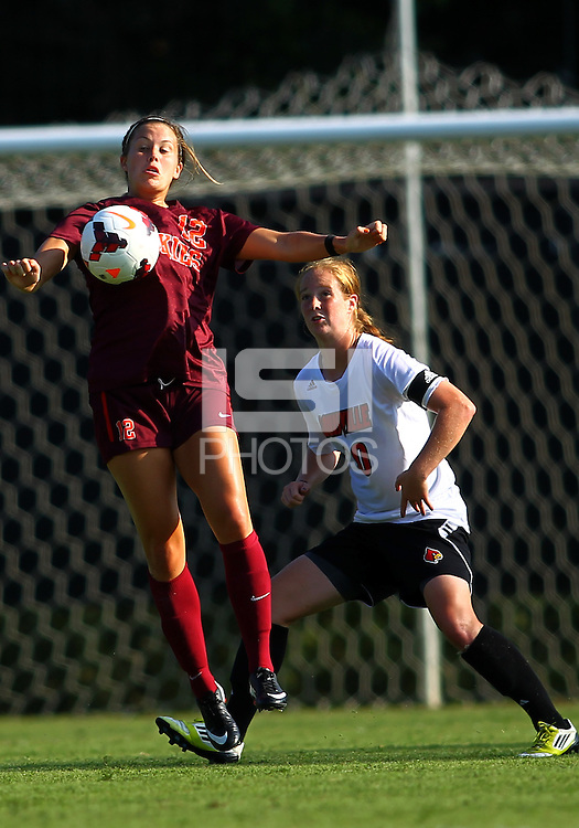 WINSTON-SALEM, NORTH CAROLINA - August 30, 2013:<br />  Chelsea Hunter (10) of Louisville University defends against Ashley Manning (12) of Virginia Tech during a match at the Wake Forest Invitational tournament at Wake Forest University on August 30. The game ended in a 1-1 tie.