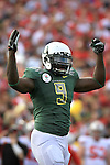 Oregon's LaGarrette Blount celebrates after scoring the Ducks first touchdown in the 96th Rose Bowl in Pasadena, Ca January 1, 2010.