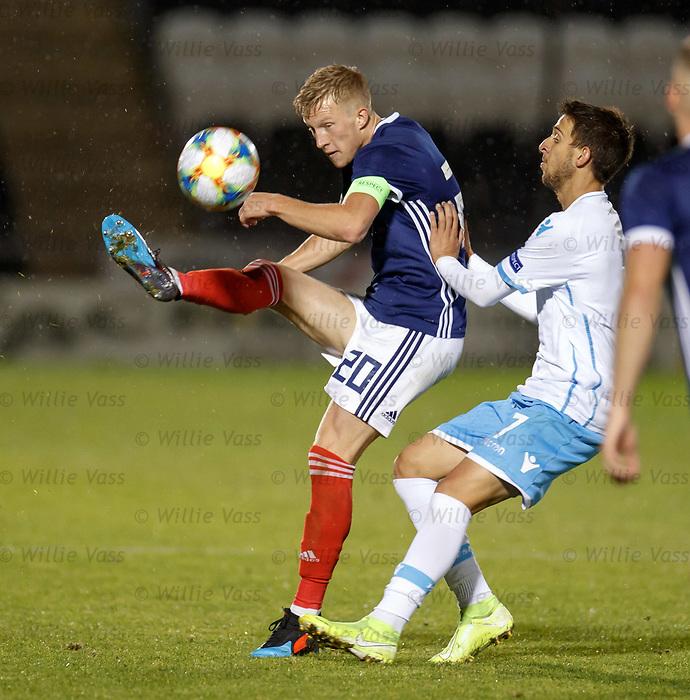 05.09.2019 Scotland u-21 v San Marino, European u-21 Championship 2021 Qualifying Round: Ross McCrorie cuts off Samuel Pancotti