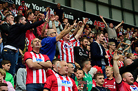 Lincoln City fans celebrate their teams first goal<br /> <br /> Photographer Chris Vaughan/CameraSport<br /> <br /> The EFL Sky Bet Championship - Rotherham United v Lincoln City - Saturday 10th August 2019 - New York Stadium - Rotherham<br /> <br /> World Copyright © 2019 CameraSport. All rights reserved. 43 Linden Ave. Countesthorpe. Leicester. England. LE8 5PG - Tel: +44 (0) 116 277 4147 - admin@camerasport.com - www.camerasport.com
